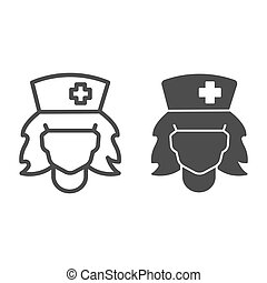 Nurse head line, solid icon, halloween concept, carnival nurse costume sign on white background, head of woman in medical cap icon in outline style for mobile concept and web design. Vector graphics.