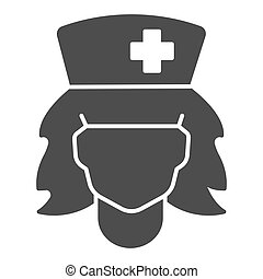 Nurse head line, solid icon, halloween concept, carnival nurse costume sign on white background, head of woman in medical cap icon in glyph style for mobile concept and web design. Vector graphics.