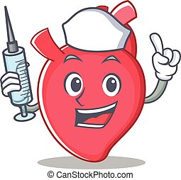Nurse heart character cartoon style