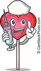 Nurse heart lollipop character cartoon vector illustration