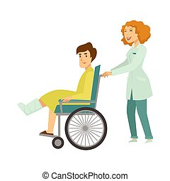 Nurse helping patient in wheelchair vector cartoon characters