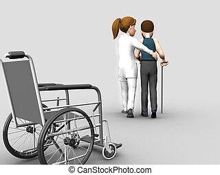 nurse helps a senior woman on crutches