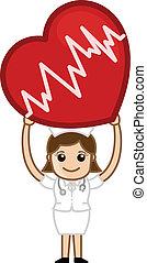 Nurse Holding a Heart Vector