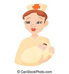 Nurse holding a newborn baby icon, cartoon style - Nurse...