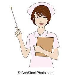 Nurse holding a pointer