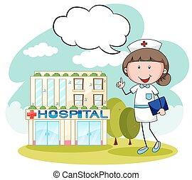 Nurse - Hospital building with female nurse