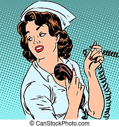 Nurse hospital phone health medical surgery style pop art ...