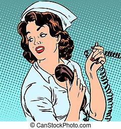 Nurse hospital phone health medical surgery style pop art...
