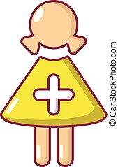 Nurse icon, cartoon style