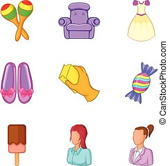 Nurse icons set, cartoon style