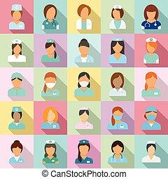 Nurse icons set, flat style