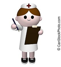 Nurse - Illustration of a nurse holding a clipboard and...