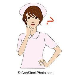 Nurse in uniform thinking