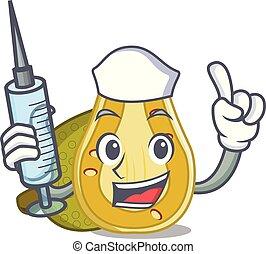 Nurse jackfruit character cartoon style vector illustration