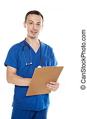 nurse man with clipboard