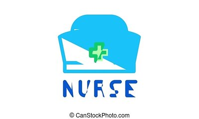 Nurse Medical Aid Icon Animation Nurse Hat And Stethoscope, Pulse Cardiogram And Patch, Suturing Wounds And Inhaler