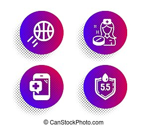Nurse, Medical phone and Basketball icons set. Ph neutral sign. Medicine pill, Mobile medicine, Sport ball. Vector