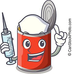 Nurse metal food cans on a cartoon vector illustration