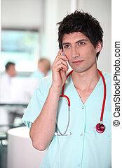 Nurse on mobile phone