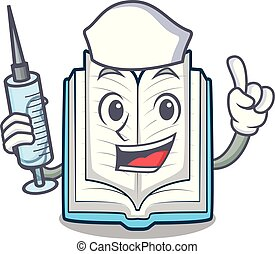 Nurse opened book isolated in the character