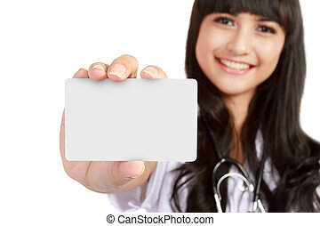 young medical doctor woman showing business card - Nurse or ...