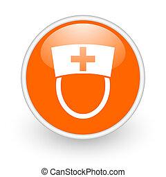 nurse orange circle glossy web icon on white background