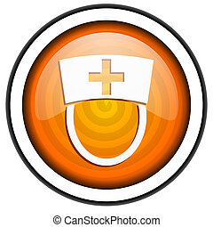 nurse orange glossy icon isolated on white background