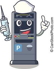 Nurse parking vending machine the cartoon shape