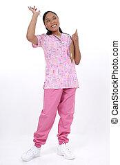 Nurse - Pediatrician or pediatric nurse waving or greeting....