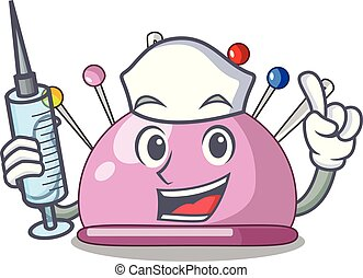 Nurse pincushion with a character needles icon vector...