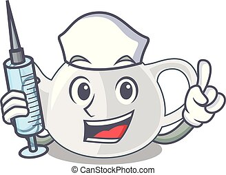 Nurse porcelain teapot ceramic isolate on mascot