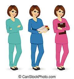 nurse posing in three different color scrubs uniform