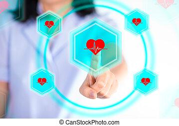 Nurse pressing modern buttons show technology of medical