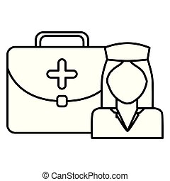 nurse professional with medical kit character