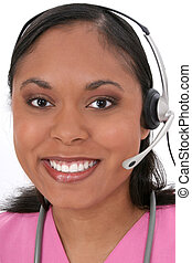 Nurse Receptionist - Beautiful Medical Receptionist Wearing...