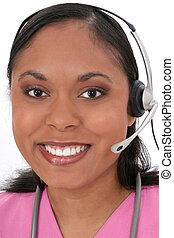 Nurse Receptionist - Beautiful Medical Receptionist Wearing...