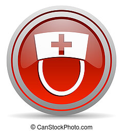 nurse red glossy icon on white background