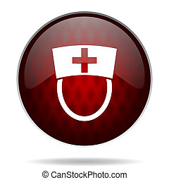 nurse red glossy web icon on white background
