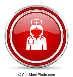 Nurse red silver metallic chrome border web and mobile phone icon on white background with shadow