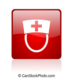 nurse red square glossy web icon on white background