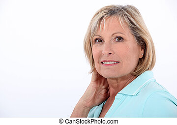 Nurse rubbing her neck,