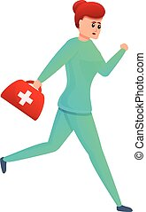 Nurse running with first aid kit icon, cartoon style