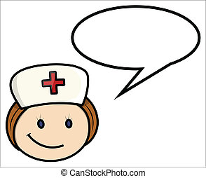 Drawing Art of Cartoon Nurse Character Face Expression with Speech Bubble Vector Illustration