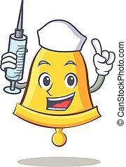 Nurse school bell character cartoon