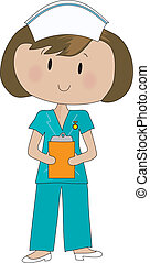 A neat and tidy nurse in green scrubs, is holding her clipboard.