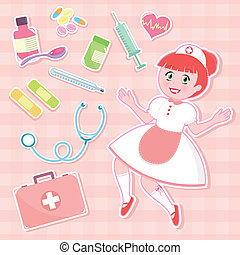 nurse set - cute nurse with collection of first aid items