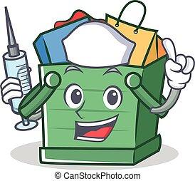 Nurse shopping basket character cartoon