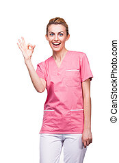 nurse showing ok sign with big smile