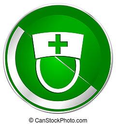 Nurse silver metallic border green web icon for mobile apps and internet.