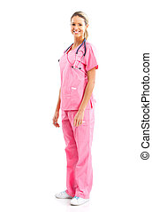 Nurse - Smiling medical nurse with stethoscope. Isolated...